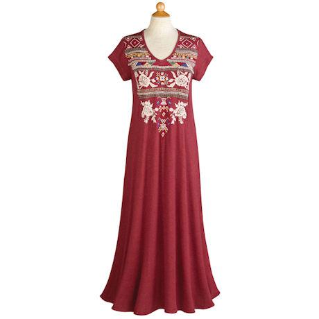 Aztec Embroidered T-Shirt Maxi Dress