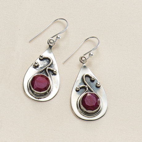 Ruby & Sapphire Swirl Earrings