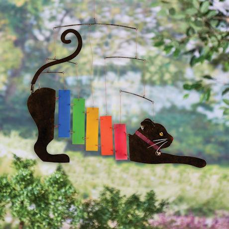 Outdoor Hanging Rainbow Cat Mobile