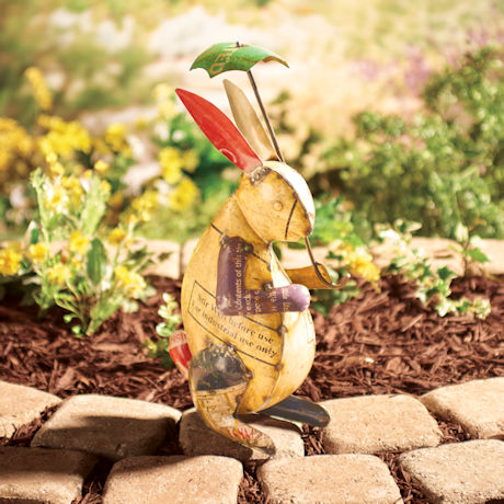 Bunny with Umbrella Garden Art
