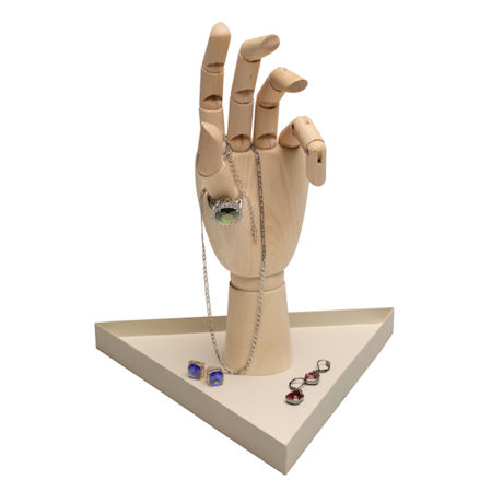 Artist's Hand Mannequin and Metal Jewelry Tray