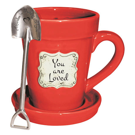 "You Are Loved Flower Pot Mug - with ""A Garden is Made With Love"" Spoon"