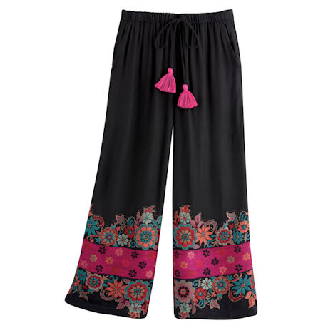 Floral Border Cropped Pants