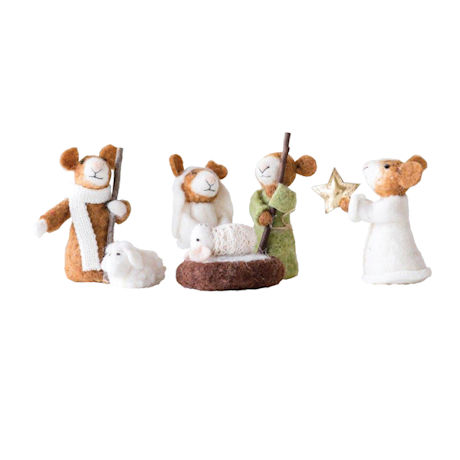 Felted Wool Mice Nativity Scene - 6 Piece Set