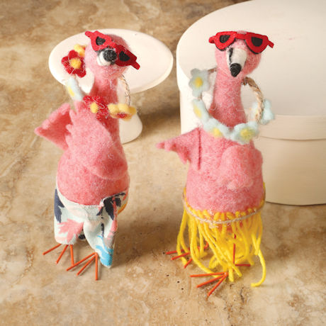 Felted Wool Pink Flamingo Beach Bums Set