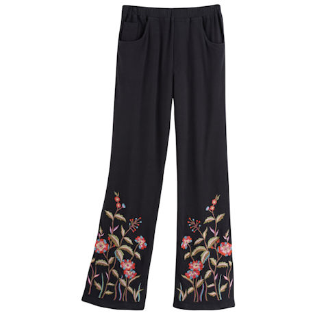 Floral Embroidered Black Knit Pants