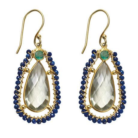 Prasiolite and Lapis Earrings