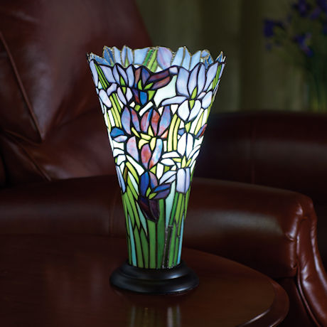 Stained Glass Irises Accent Lamp