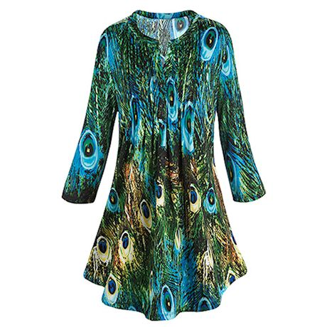 Feather Print Peacock Tunic Top with Pleats