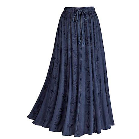 "Catalog Classics Women's Over-Dyed Maxi Skirt - Elastic Waistband 36"" Long - Denim Colored Rayon"