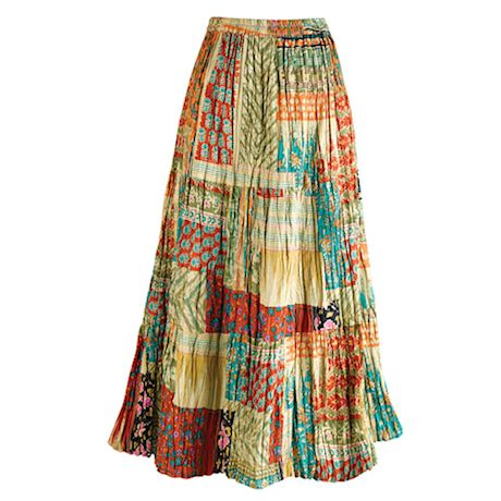 Traveler's Reversible Long Cotton Skirt