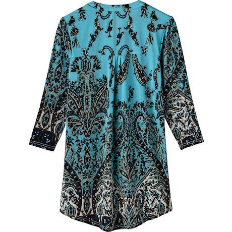 Pleated Paisley 3/4 Sleeve Printed Tunic