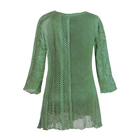 Lacey Layers of Teal Tunic Cotton Blouse