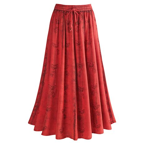 Over-Dyed Rayon Maxi Skirt