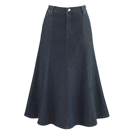 8-Gore Denim Riding Maxi Skirt
