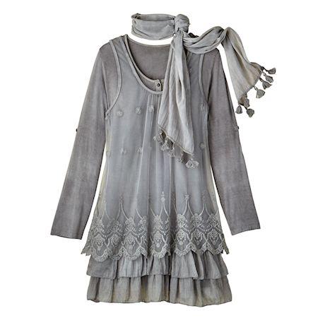 Lacey Layers 3-Pc. Tunic & Scarf Set