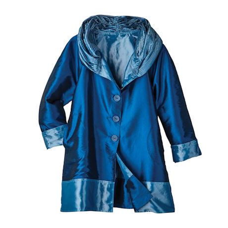 Reversible Hooded Rain Jacket - Iridescent Fabric