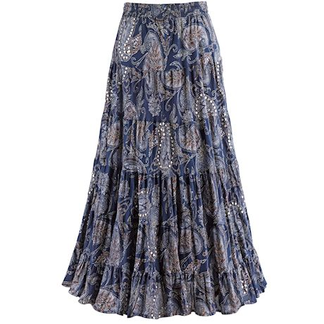 Sequins And Paisley Skirt