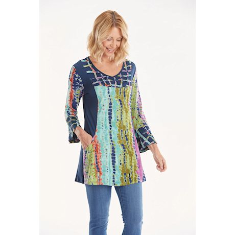 Splashy Tie-Dye Bell-Sleeve Tunic