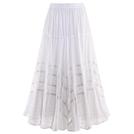 Tone-On-Tone Embroidered Full Circle Maxi Skirt