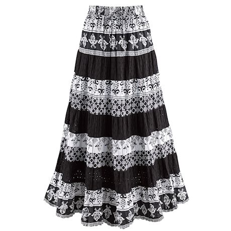 Black-And-White Tiered Eyelet Skirt