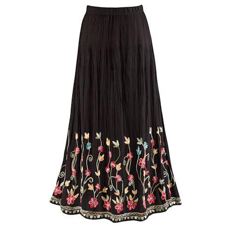 Embroidered Flowering Vines Skirt