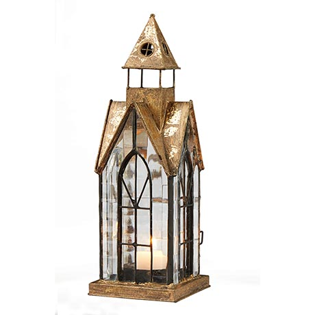 Glass Panel Candle Lantern Architectural Design in Metal Frame - Hampton House