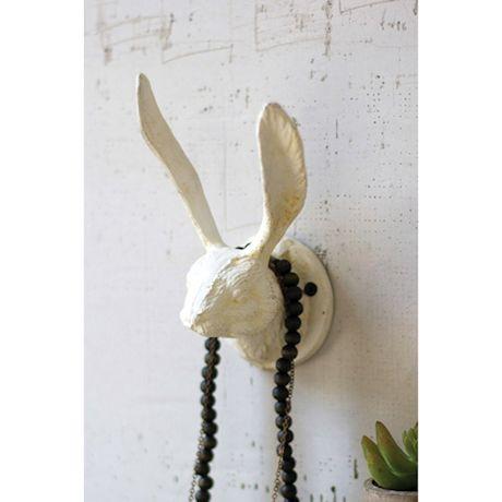 Cast Iron Rabbit Wall Hook - Antique White