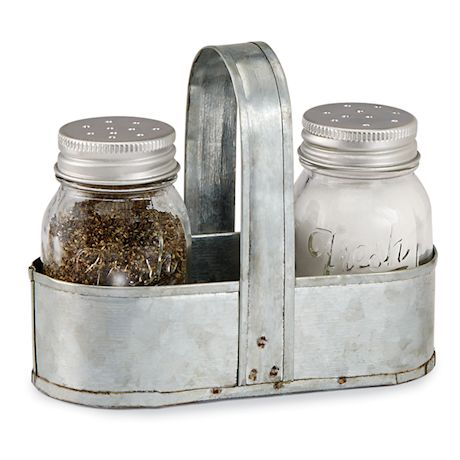 Fresh Jar Salt and Pepper Shaker Caddy Set