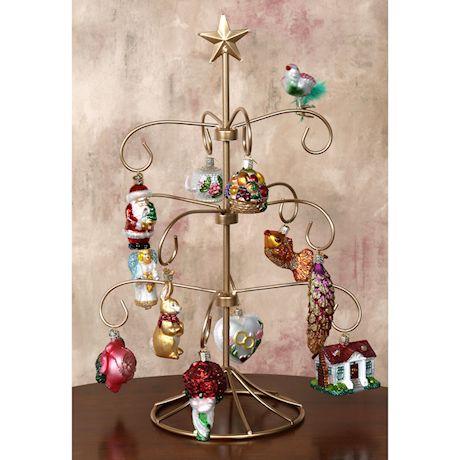 """Merck Family's Old World Christmas Bride's Tree Ornaments & Metal Display Tree - 12 Ornaments & 18 1/2"""" Display Tree"""