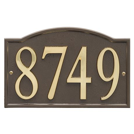 """Art & Artifact by Whitehall Personalized Cast Metal Address Plaque - 11"""" x 7.25"""" Custom House Number Sign - Arched Rectangle with DIY Self-Adhesive Zinc Numerals"""
