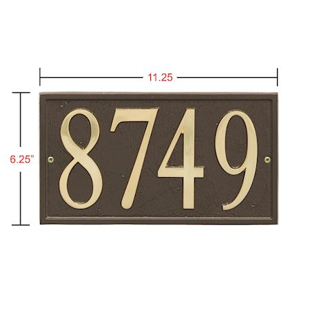 "Art & Artifact by Whitehall Personalized Cast Metal Address Plaque - 11"" x 6.25"" Custom House Number Sign - Rectangle with DIY Self-Adhesive Zinc Numerals"