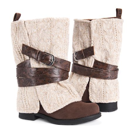 Muk Luks Women's Nikita Heel Boot - Mid-Calf Blanket Style - Brown or Gray