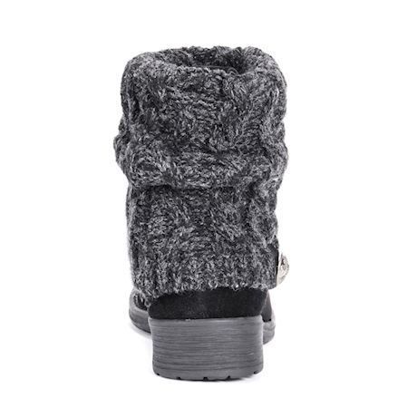 Muk Luks Women's Patrice Cable Knit Cuff Heel Booties - Black