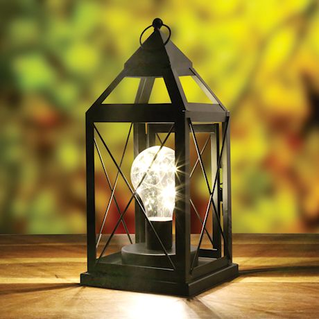 """Circleware Lantern Metal Cage Style Desk,Table, or Hanging Lamp - Cordless Accent Light with LED Bulb - 10.25"""" High"""