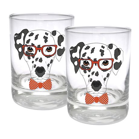 Circleware Dalmatian Weighted Bottom Glasses - Double Old Fashioned Glassware, 11.25 Ounce - Set of 2