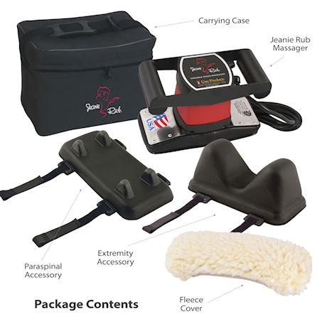 Jeanie Rub Massager Professional Package - Electric Massager with Para-Spinal and Extremity Attachments, Fleece Pad, and Shoulder Bag