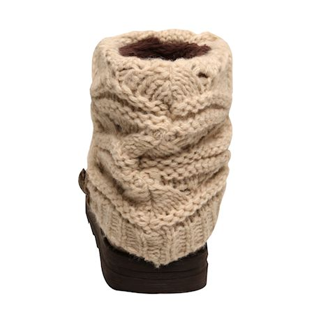 Muk Luks Women's Patti Cable Knit Cuff Booties - Exclusive Taupe/Oatmeal Color