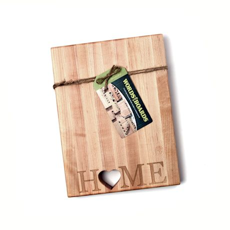 """Words with Boards Maple Hardwood Cutting Board - """"Home"""" with Hand-Cut Heart Accent - Premium USA-Made Butcher Block"""