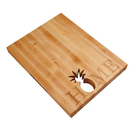 """Words With Boards Maple Hardwood Cutting Board - """"Home"""" with Hand-Cut Pineapple Accent - Premium USA-Made Butcher Block"""