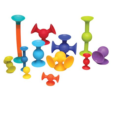 Fat Brain Toys Squigz Jumbo 75 Piece Set with Storage Bag - Exclusive Combo Suction Toy Building Set - BPA-Free