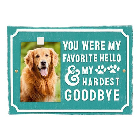 Whitehall My Hardest Goodbye Pet Memorial Photo Wall Sign - Keepsake Remembrance Plaque with Paw Prints and Picture Clip
