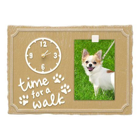 Whitehall Time For A Walk Pet Photo Wall Clock Sign - Keepsake Animal Paw Print Plaque with Picture Clip