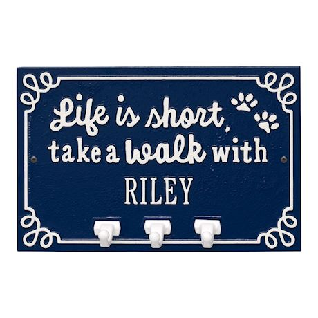 Whitehall Life is Short Take a Walk Personalized Pet Dog Name Wall Sign with Three Leash Hooks