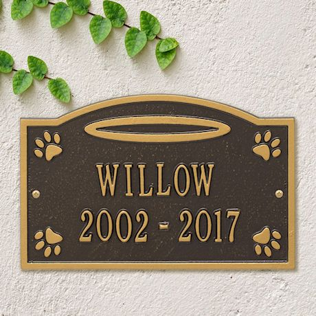 Whitehall Pet Memorial Personalized Wall or Ground Plaque - Halo and Paw Print Remembrance Marker/Sign