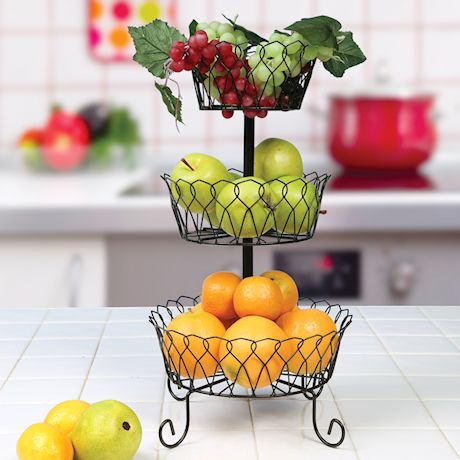 Home District 3-Tier Iron Fruit Basket Stand - Footed Wire Graduated Food Storage Bowls for Countertop and Dining Table