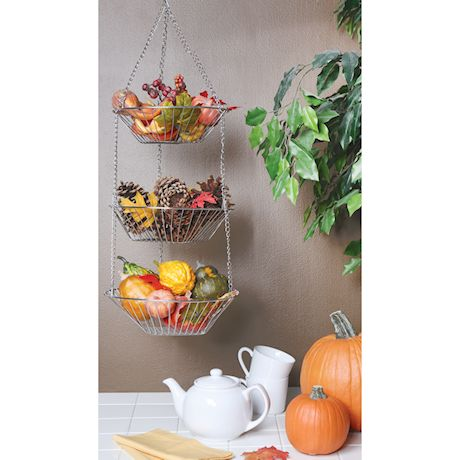 Home District 3-Tier Chrome Hanging Fruit Basket - Adjustable Graduated Wire Food Storage Bowls