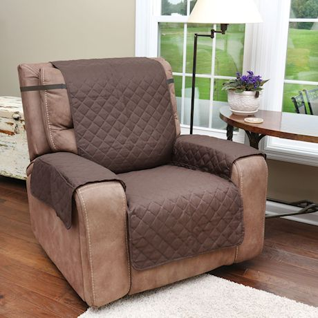 Support Plus Reversible Quilted Microfiber Recliner Chair Cover with Pockets - Protects Furniture from Pet Hair and Mess