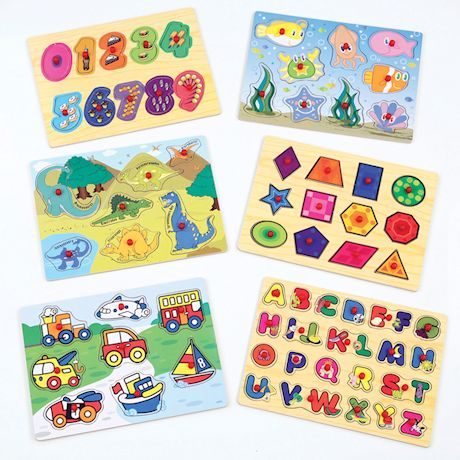 Wood Peg 6-Puzzle Set with Wire Storage Rack - ABC, Numbers, Shapes, Vehicles and Animals Educational Puzzles for Kids