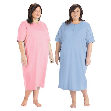 Women's Long Henley Nightshirts - Set of 2 Comfortable Pajama Sleep Shirts